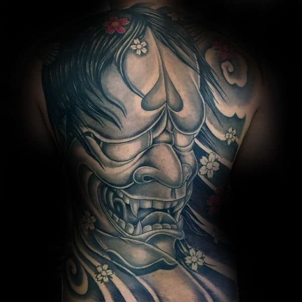 Full Back Shaded Hannya Mask Tattoos For Males
