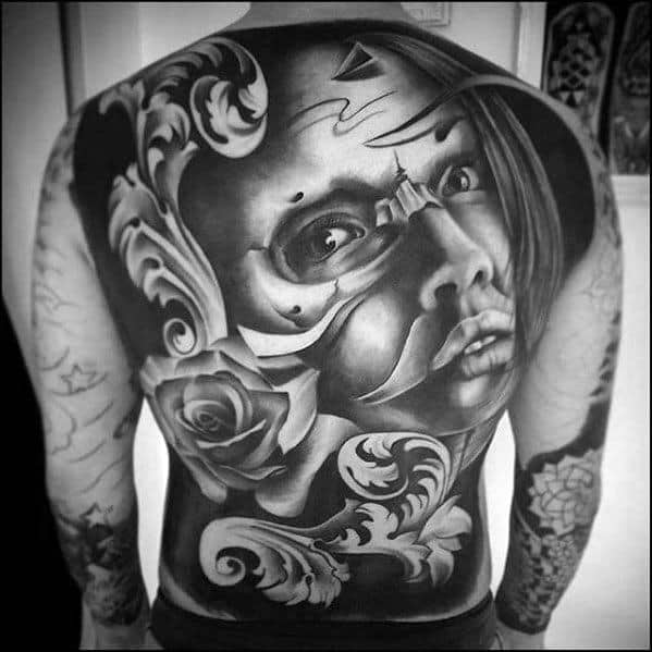 Full Back Shaded Ornate Female Portrait Rad Tattoos Men