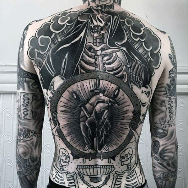 Full Back Skeleton And Heart Great Tattoo Ideas For Gentlemen