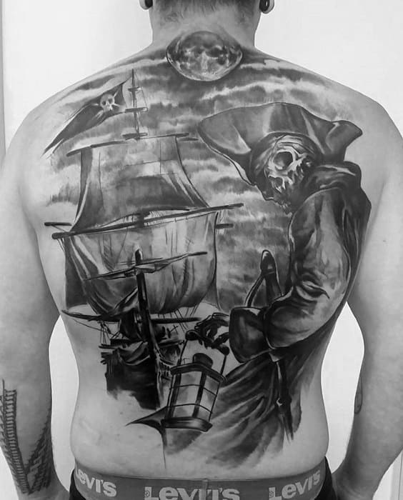 Full Back Skeleton Ship Pirate Flag Mens Tattoos