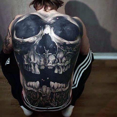 Full Back Skull Themed 3d Realistic Tattoo Ideas For Guys