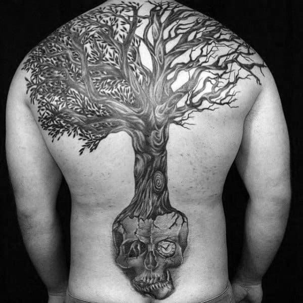 Full Back Skull Tree Tattoo Designs For Guys