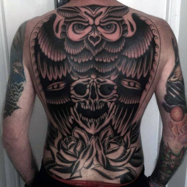 Full Back Skull With Owl Guys Amazing Traditional Tattoo Deisgns