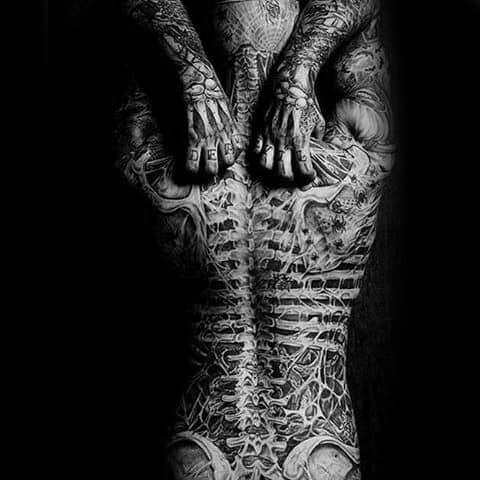 Full Back Spine And Bones Tattoos For Guys