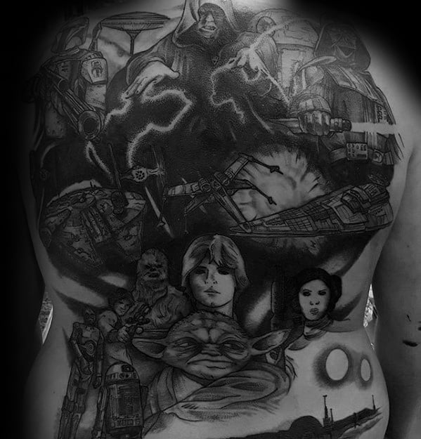 Full Back Star Wars Themed Death Star Guys Tattoo Designs