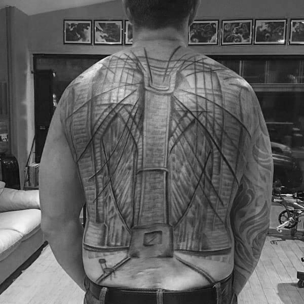 Full Back Tattoo Of Brooklyn Bridge On Man