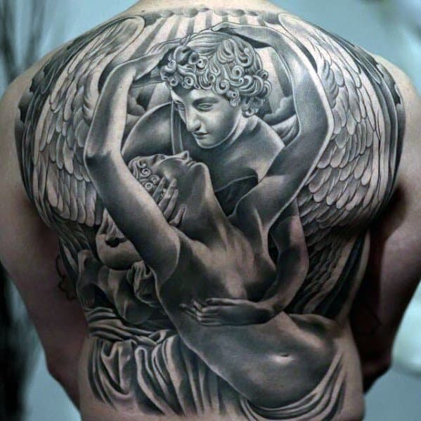 Full Back Themed 3d Angel Statue Mens Tattoo Designs