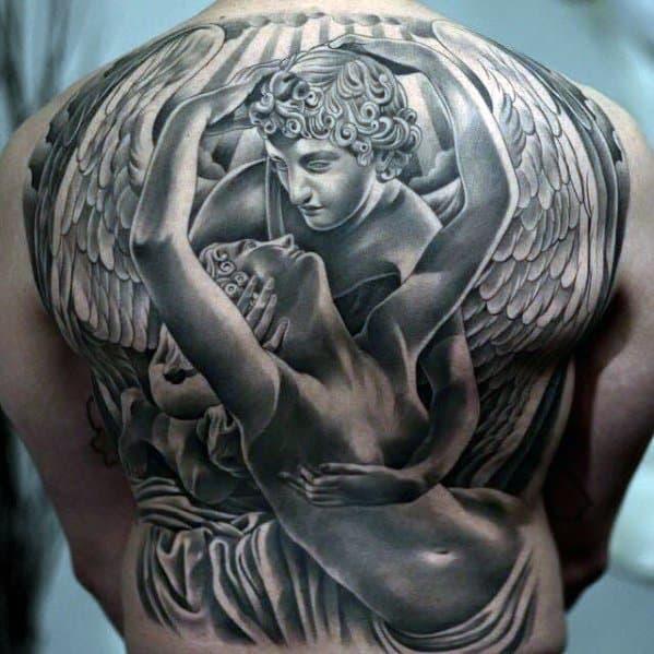 50 Aneglic Heaven Tattoos Ideas And Designs 2018: 40 Angel Statue Tattoo Designs For Men