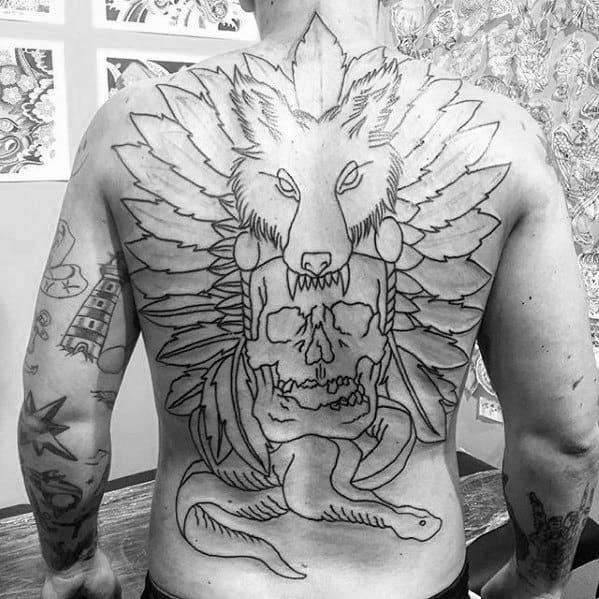 Full Back Themed Coyote Tattoos Men