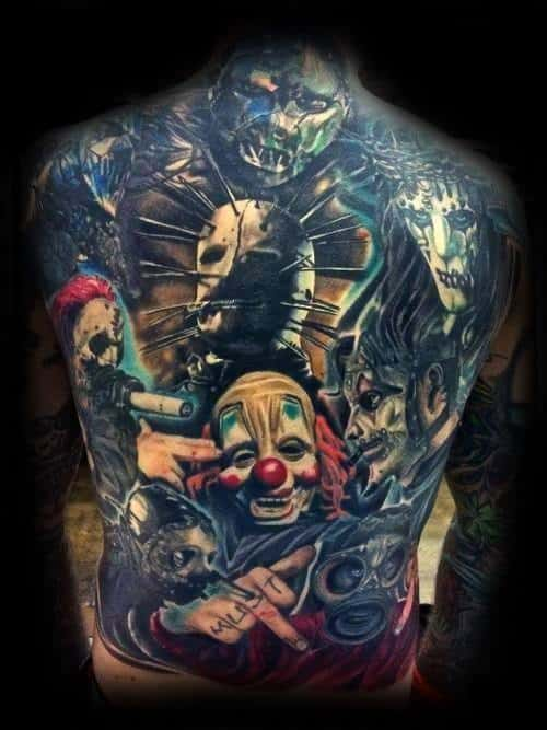 Full Back Themed Male Slipknot Tattoo Designs