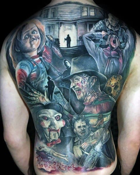 Full Back Themed Manly Scary Movie Tattoos For Males