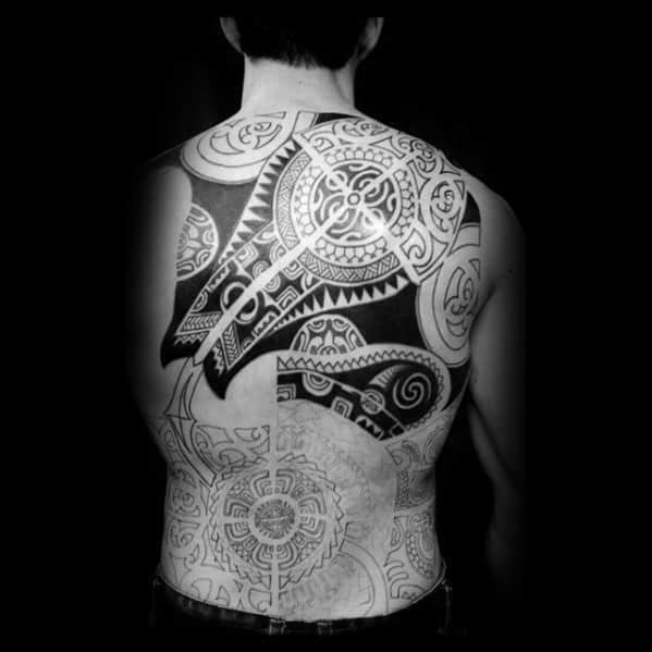 Full Back Tribal Manta Ray Tattoo Design Ideas For Males