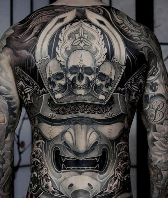 Full Back Unbelievable Samuari Mask Mens Tattoo Design Ideas