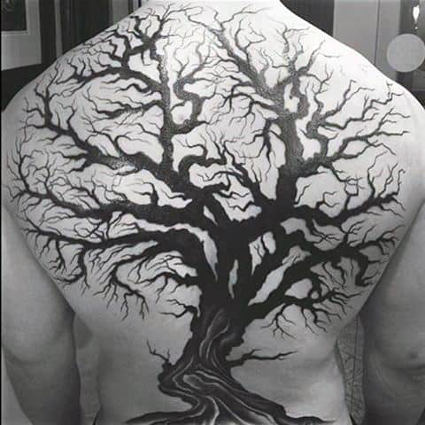 Full Back Unique Black Ink Tree Branches Mens Tattoo
