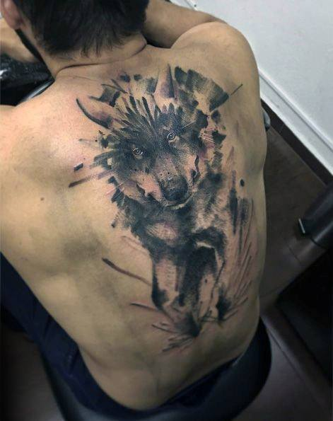 Full Back Wolf Watercolor Tattoo Design On Man