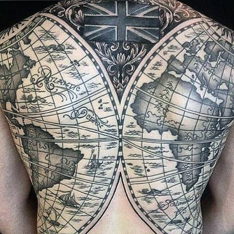 Full Back World Map Globe Mens Tattoo Ideas