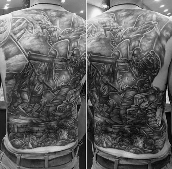 Full Back Ww2 Themed Mens Battle Tattoos