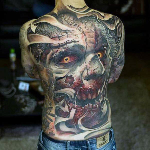 Full Back Zombie Face Tattoo On Man With Blood On Mouth