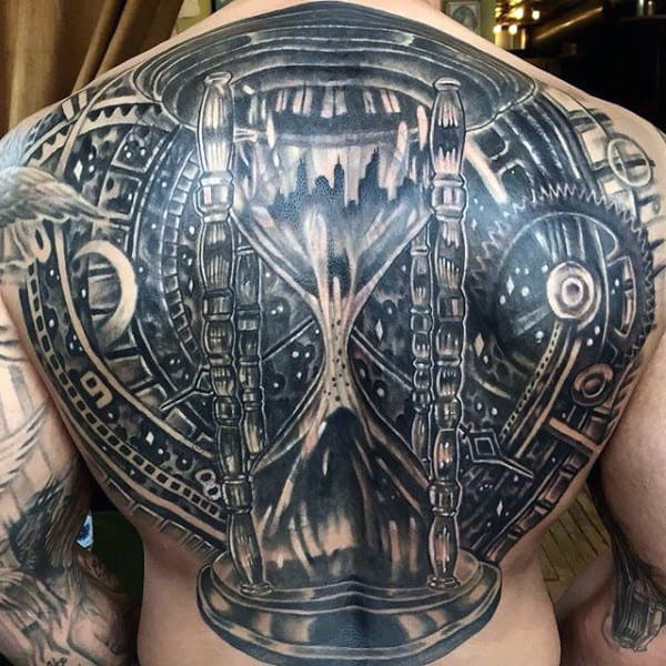 Full Black Mens Back Hourglass Tattoos With Gears