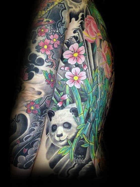 Full Body Guys Panda Bear Tattoo