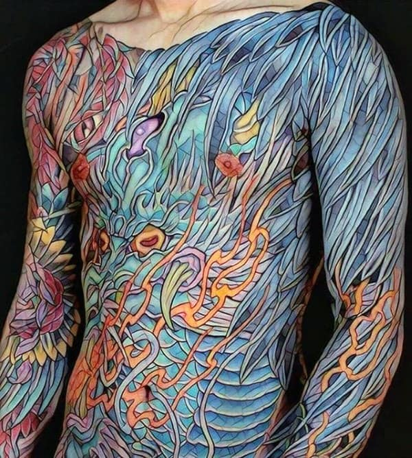 Full Body Mens Artistic Colorful Dragon Tattoo