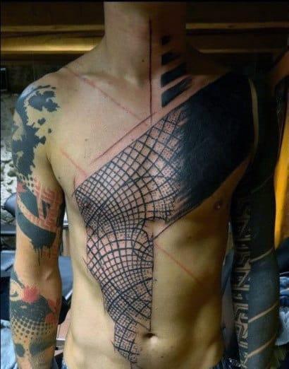 Full Body Minimal Line Tattoo Designs For Males
