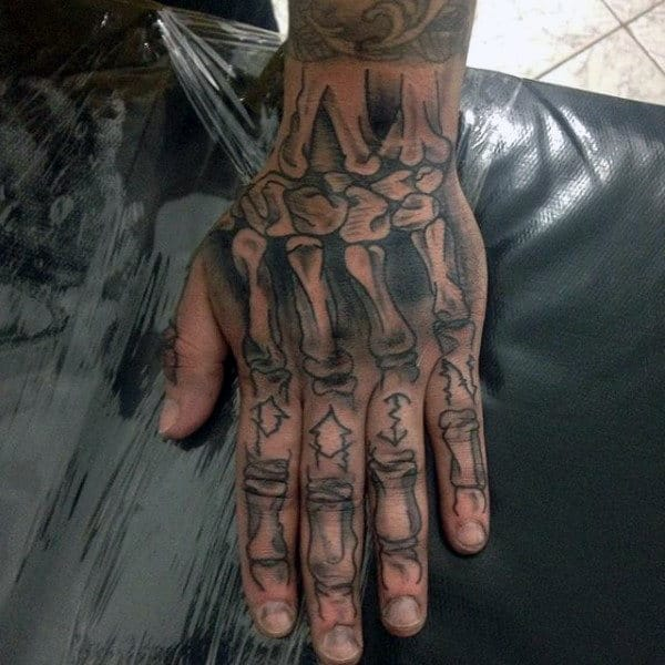 Full Bones Skeleton Guys Unique Knuckle Tattoos