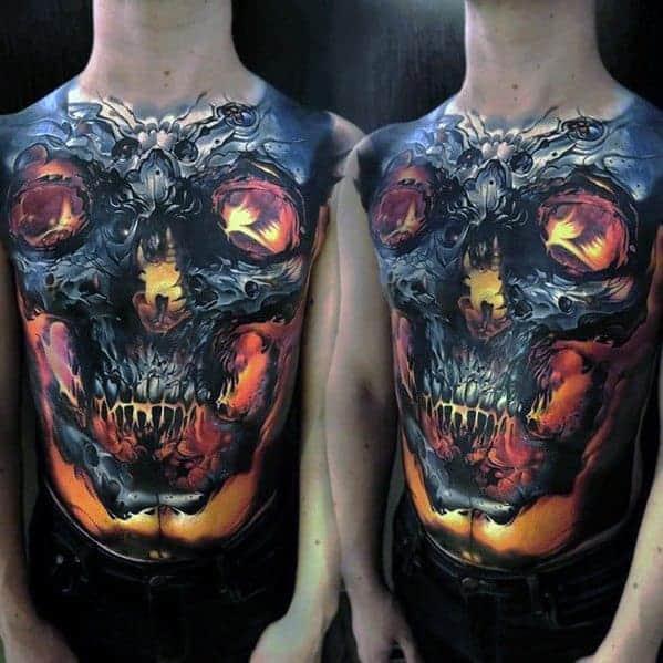 full-chest-3d-glowing-badass-skull-tattoo-ideas-for-gentlemen