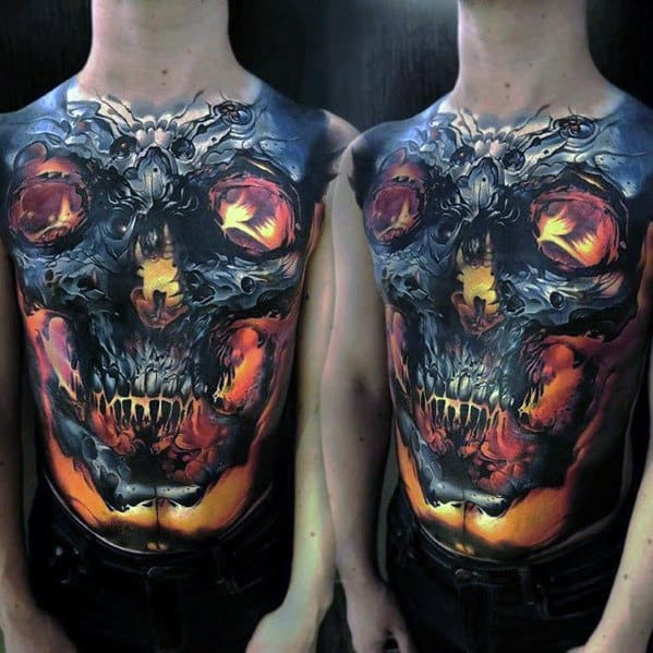 Full Chest 3d Glowing Badass Skull Tattoo Ideas For Gentlemen