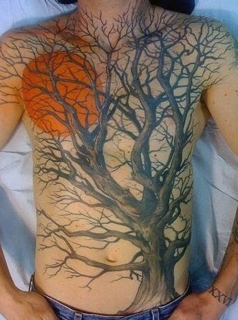 Full Chest And Shoulders Tree And Orange Sun Mens Tattoo Design Idea