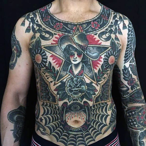 Full Chest And Sleeve Guys Traditional Tattoo Ideas