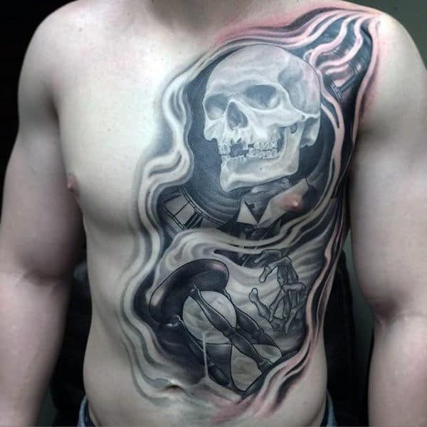 Full Chest And Stomac Mens Hourglass Tattoo
