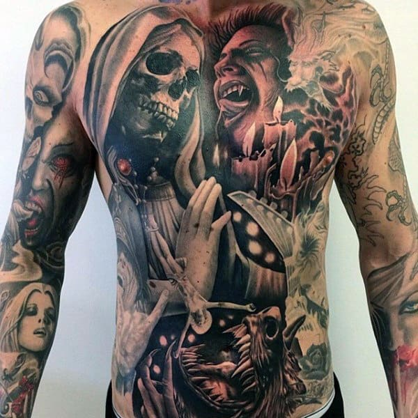 Full Chest And Stomach Vampire Tattoos For Men