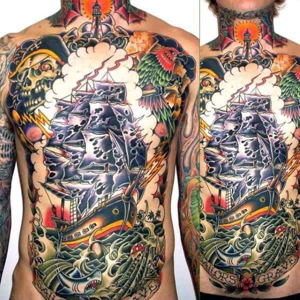 Full Chest Artwork Tattoo Sailor Men