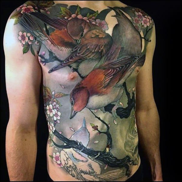 Full Chest Birds In Tree Branch 3d Guys Rad Tattoos