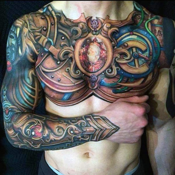 Full Chest Body Armor Tattoo Designs For Males