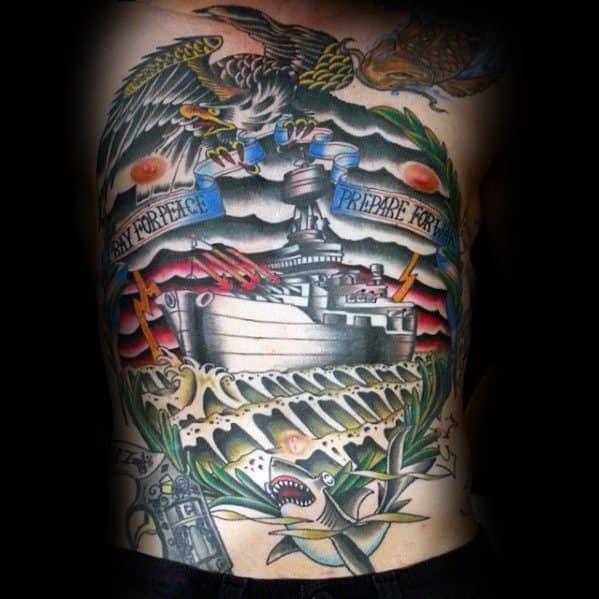 Full Chest Cool Battleship Tattoo Design Ideas For Male