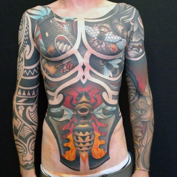 Full Chest Cover Up Modern Tattoo Designs For Guys