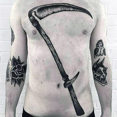 50 Scythe Tattoo Designs For Men - Curved Blade Ink Ideas