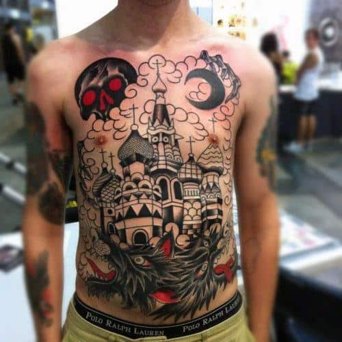 Full Chest Dragon Skull Castle Male Tattoo Inspiration