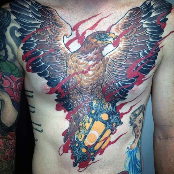Full Chest Flaming Bird Lantern Tattoo Design Ideas For Males