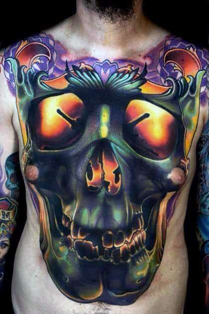 Full Chest Glowing Skull Mens Tattoos