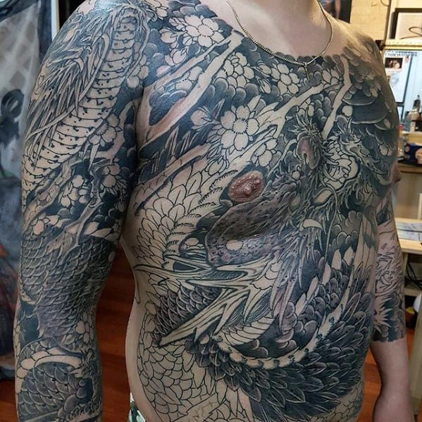 Full Chest Guys Japanese Dragon Tattoo Ideas