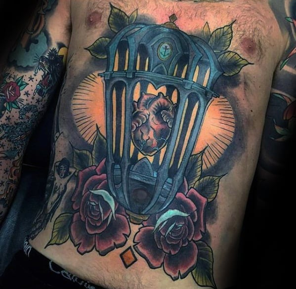 Full Chest Guys Tattoos With Lantern Heart And Rose Flowers Design