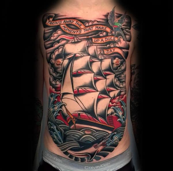 Full Chest Guys Traditional Sailing Ship Nautical Tattoos