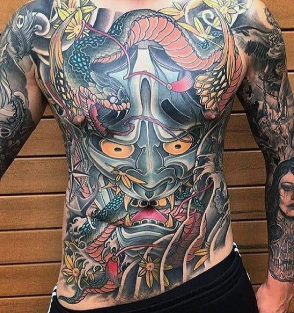 Full Chest Japanese Demon Guys Great Tattoo Design Idea Inspiration