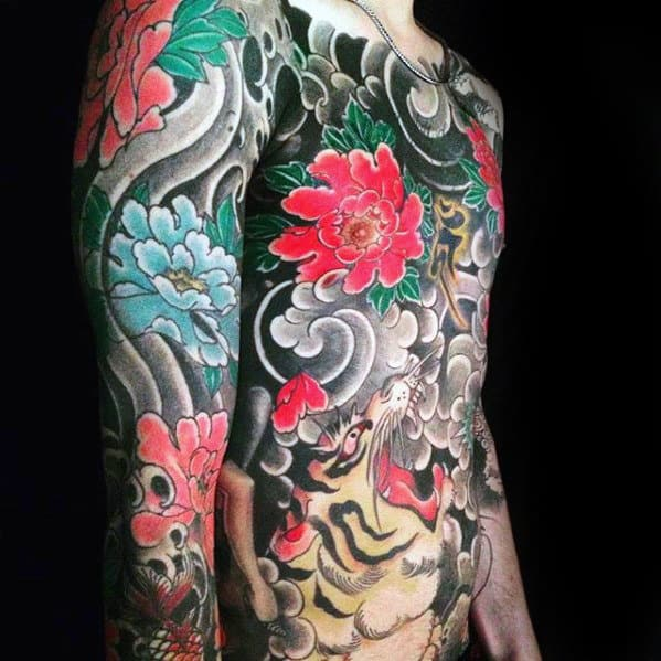Full Chest Japanese Tiger And Flower Full Chest And Arm Tattoo