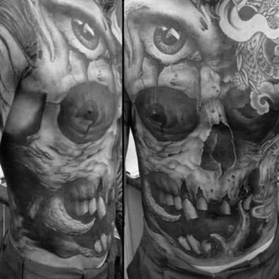 Full Chest Manly Guys Skull Tattoo Inspiration