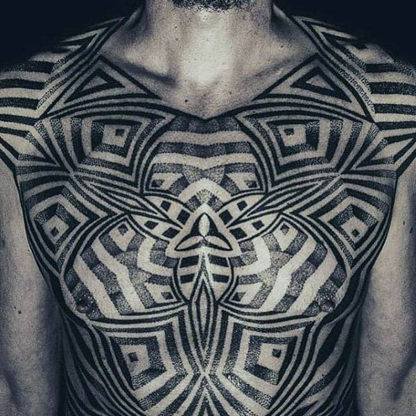 Full Chest Mens Optical Illusion Black Ink Tattoo Negative Space