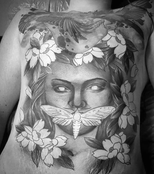 Full Chest Negative Space Moth Mens Female Portrait Tattoos